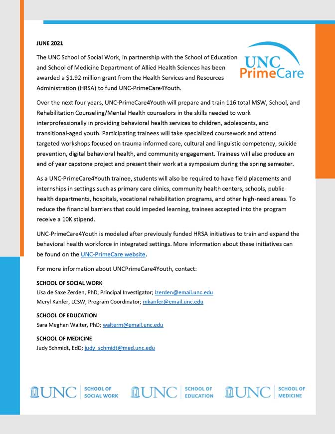 UNC-PrimeCare4Youth announcement